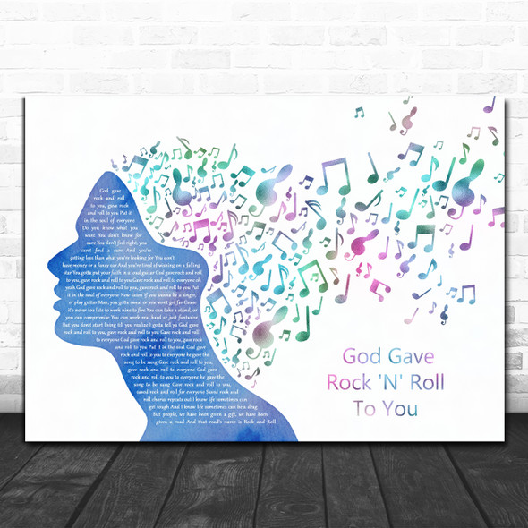 Kiss God Gave Rock 'N' Roll To You II Colourful Music Note Hair Gift Song Lyric Print