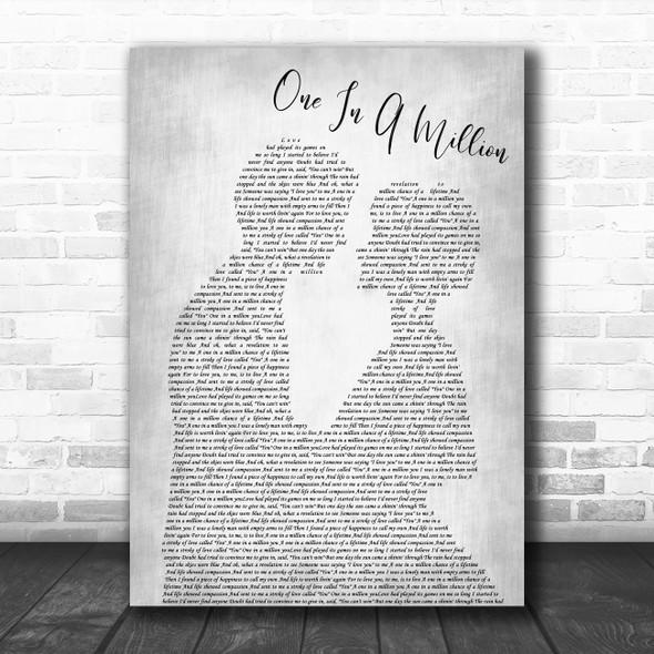 Larry Graham One In A Million Man Lady Bride Groom Wedding Grey Wall Art Gift Song Lyric Print