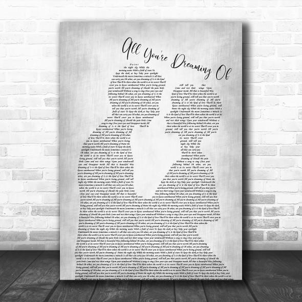 Liam Gallagher All You're Dreaming Of Man Lady Bride Groom Wedding Grey Song Lyric Print