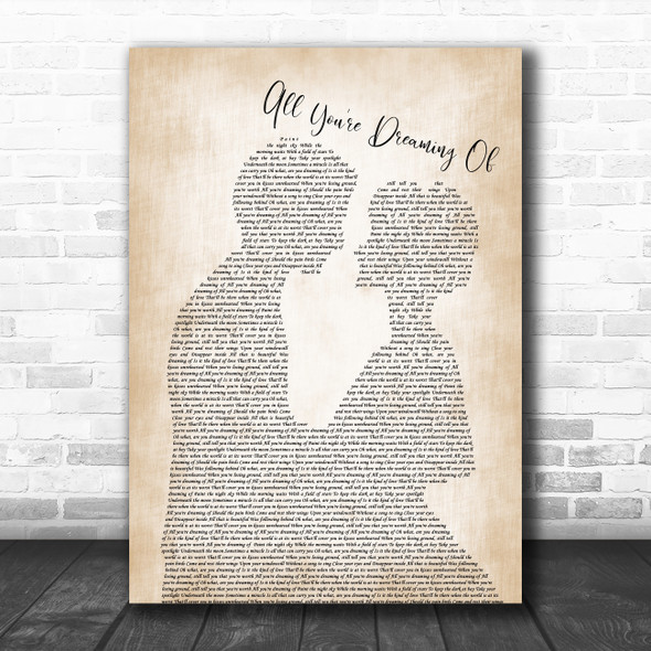 Liam Gallagher All You're Dreaming Of Man Lady Bride Groom Wedding Wall Art Gift Song Lyric Print