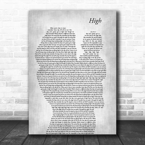 Lighthouse Family High Mother & Baby Grey Decorative Wall Art Gift Song Lyric Print