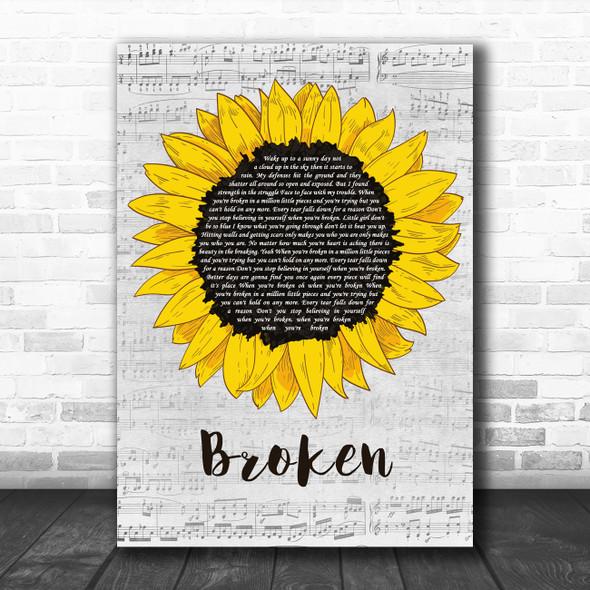 Lindsey Haun Broken Grey Script Sunflower Decorative Wall Art Gift Song Lyric Print