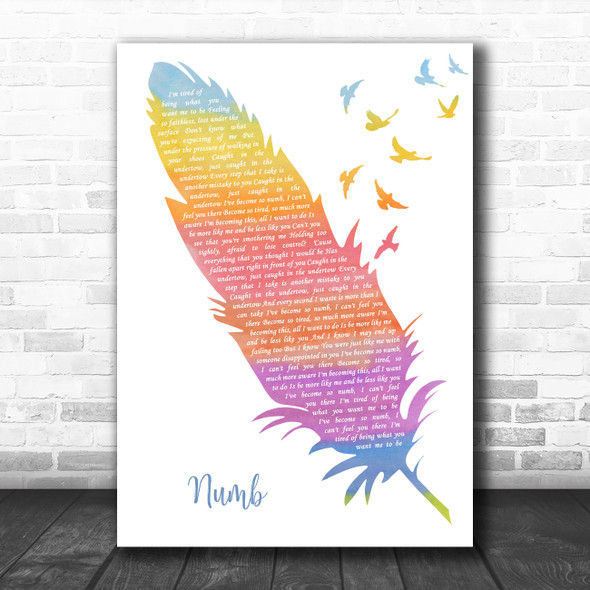 Linkin Park Numb Watercolour Feather & Birds Decorative Wall Art Gift Song Lyric Print