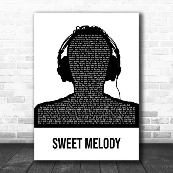 Little Mix Sweet Melody Black & White Man Headphones Decorative Gift Song Lyric Print