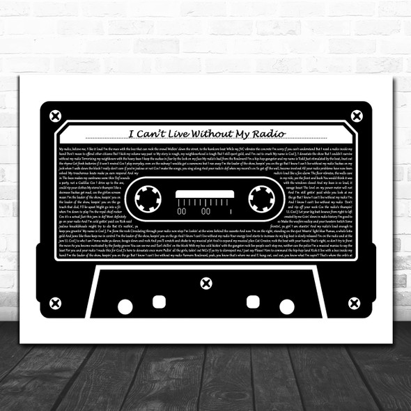 LL Cool J I Can't Live Without My Radio Black & White Music Cassette Tape Song Lyric Print