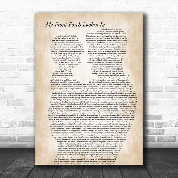 Lonestar My Front Porch Lookin In Father & Child Decorative Gift Song Lyric Print
