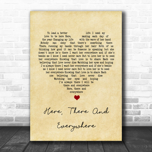 The Beatles Here, There And Everywhere Vintage Heart Song Lyric Music Wall Art Print
