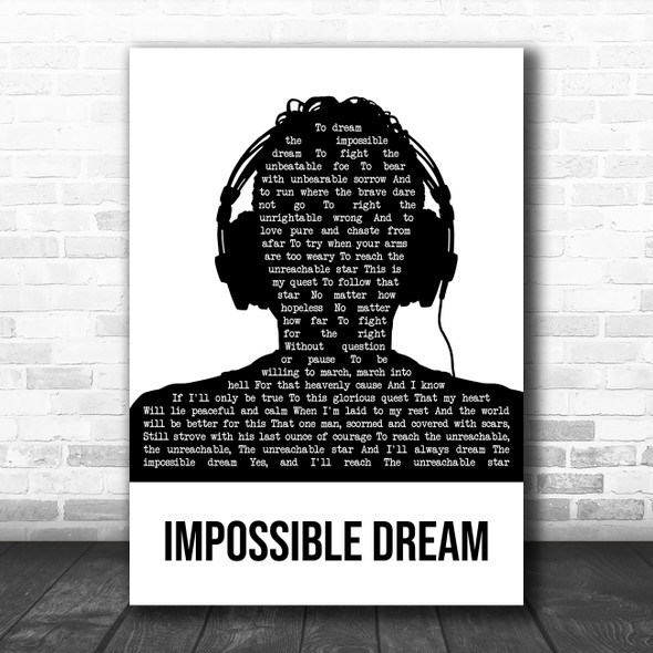 Luther Vandross Impossible Dream Black & White Man Headphones Song Lyric Print