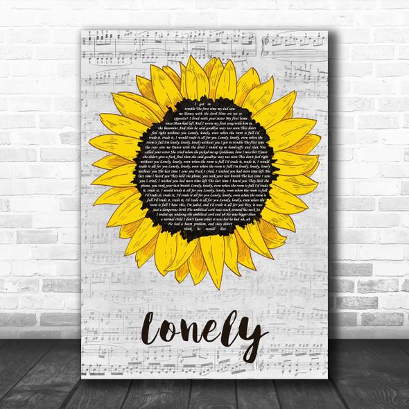 Machine Gun Kelly Lonely Grey Script Sunflower Decorative Wall Art Gift Song Lyric Print
