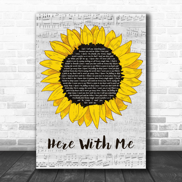 Marshmello Feat. CHVRCHES Here With Me Grey Script Sunflower Wall Art Song Lyric Print