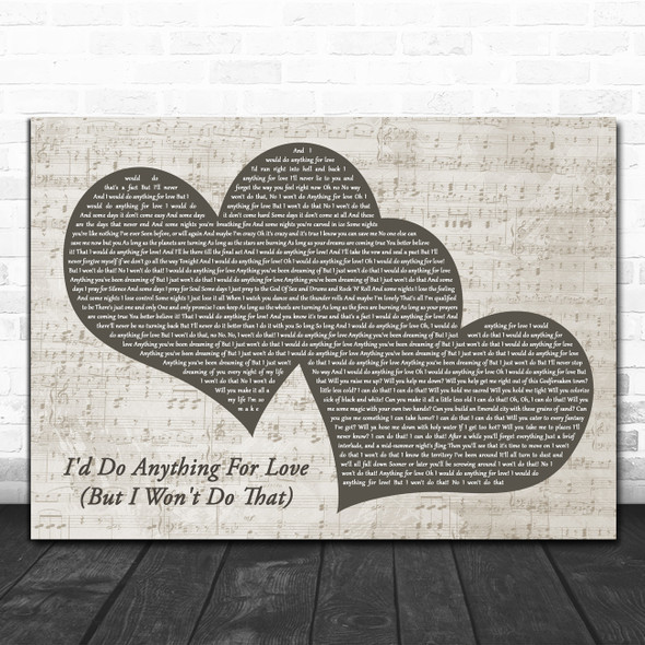 Meat Loaf I'd Do Anything For Love (But I Won't Do That) Landscape Music Script Two Hearts Song Lyric Print