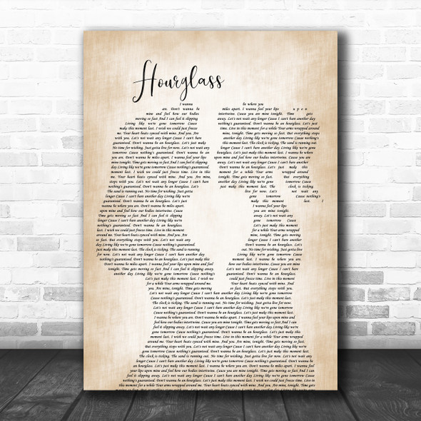 Mena Hourglass Lesbian Women Gay Brides Couple Wedding Decorative Gift Song Lyric Print