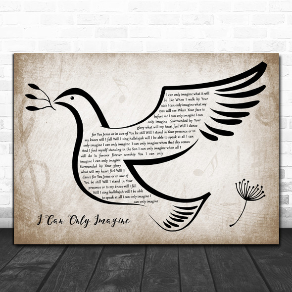 Mercy Me I Can Only Imagine Vintage Dove Bird Decorative Wall Art Gift Song Lyric Print