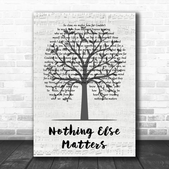 Metallica Nothing Else Matters Music Script Tree Decorative Wall Art Gift Song Lyric Print