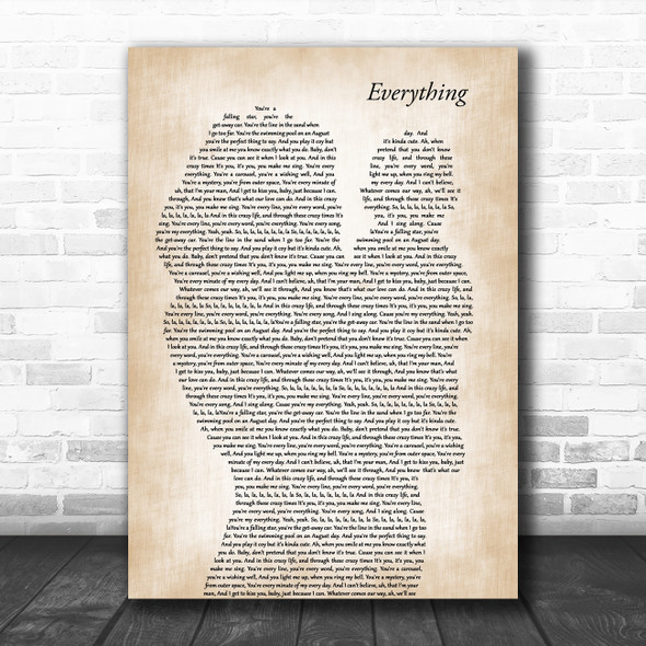 Michael Buble Everything Mother & Baby Decorative Wall Art Gift Song Lyric Print
