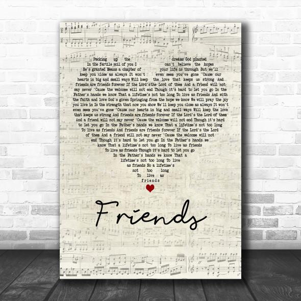 Michael W. Smith Friends Script Heart Decorative Wall Art Gift Song Lyric Print