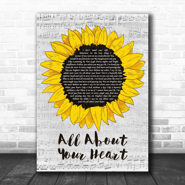 Mindy Gledhill All About Your Heart Grey Script Sunflower Decorative Gift Song Lyric Print