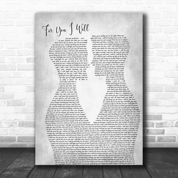 Monica For You I Will Two Men Gay Couple Wedding Grey Decorative Gift Song Lyric Print