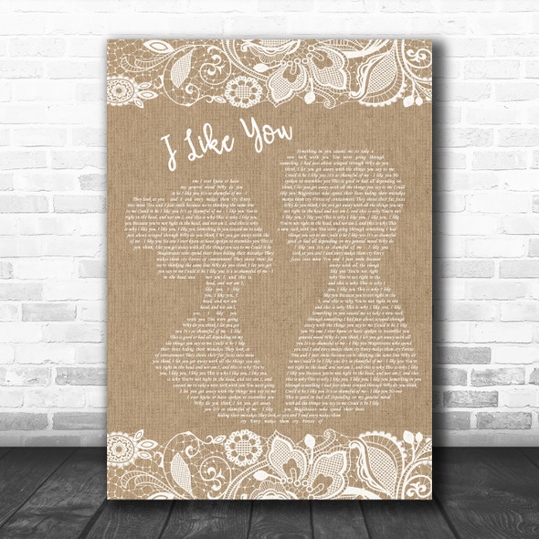 Morrissey I Like You Burlap & Lace Decorative Wall Art Gift Song Lyric Print