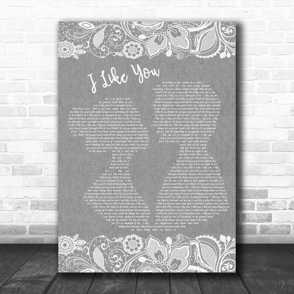 Morrissey I Like You Grey Burlap & Lace Decorative Wall Art Gift Song Lyric Print