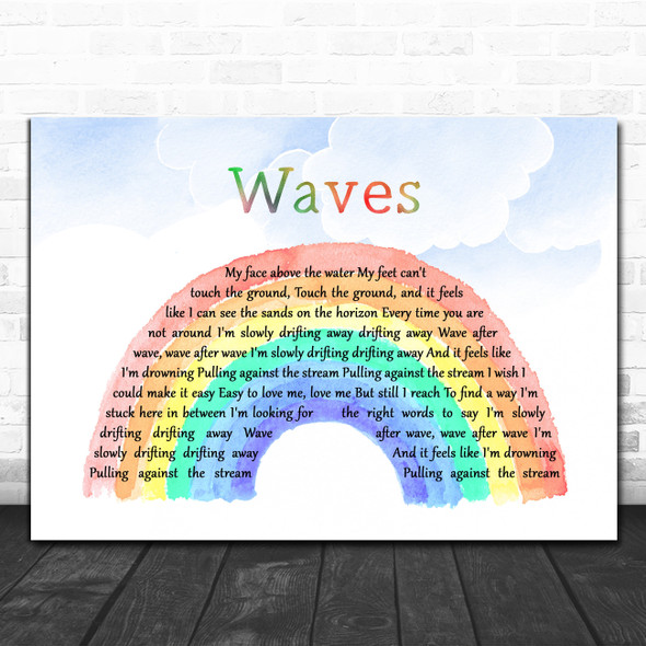 Mr. Probz Waves Watercolour Rainbow & Clouds Decorative Wall Art Gift Song Lyric Print