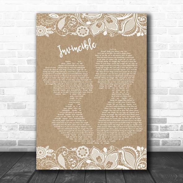 Muse Invincible Burlap & Lace Decorative Wall Art Gift Song Lyric Print