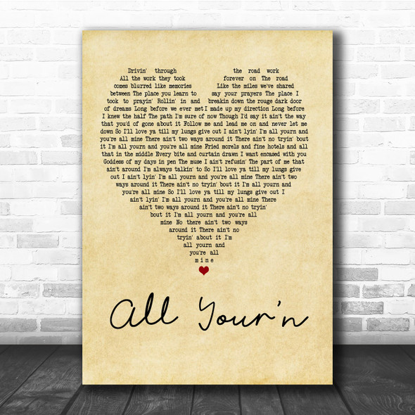 Tyler Childers All Your'n Vintage Heart Song Lyric Music Wall Art Print