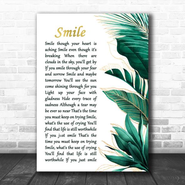 Nat King Cole Smile Gold Green Botanical Leaves Side Script Song Lyric Print
