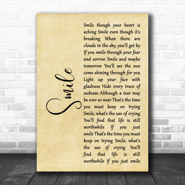 Nat King Cole Smile Rustic Script Decorative Wall Art Gift Song Lyric Print