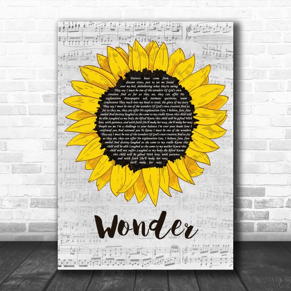 Natalie Merchant Wonder Grey Script Sunflower Decorative Wall Art Gift Song Lyric Print