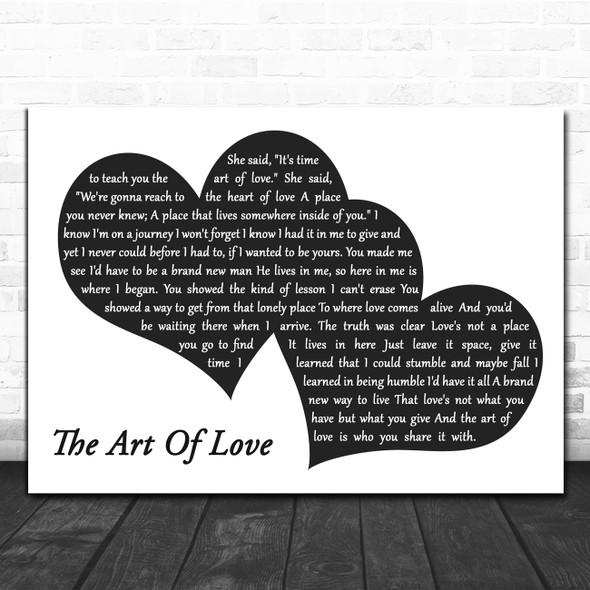 Neil Diamond The Art Of Love Landscape Black & White Two Hearts Wall Art Gift Song Lyric Print