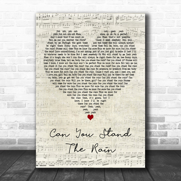 New Edition Can You Stand the Rain Script Heart Decorative Wall Art Gift Song Lyric Print