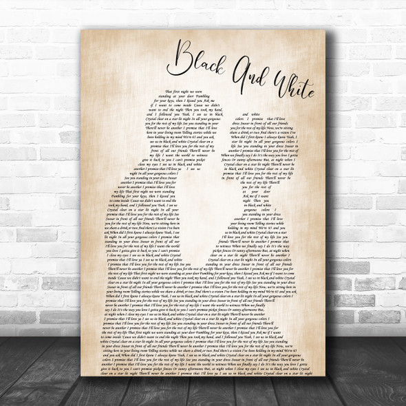 Niall Horan Black And White Man Lady Bride Groom Wedding Decorative Gift Song Lyric Print