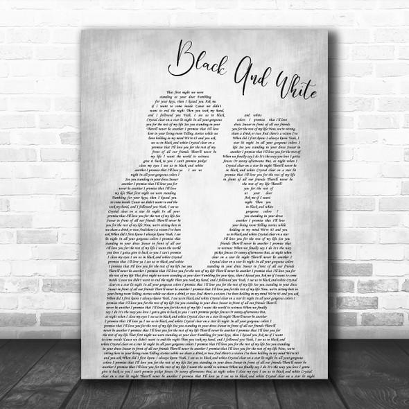 Niall Horan Black And White Man Lady Bride Groom Wedding Grey Song Lyric Print