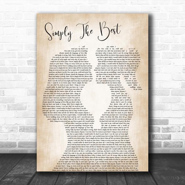Noah Reid Simply the Best Lesbian Women Gay Brides Couple Wedding Gift Song Lyric Print