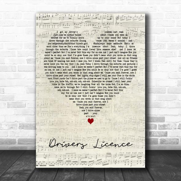 Olivia Rodrigo drivers licence Script Heart Decorative Wall Art Gift Song Lyric Print