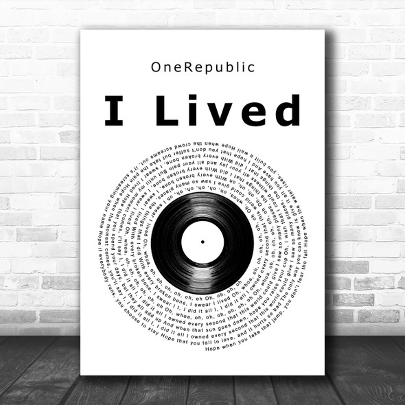 OneRepublic I Lived Vinyl Record Decorative Wall Art Gift Song Lyric Print