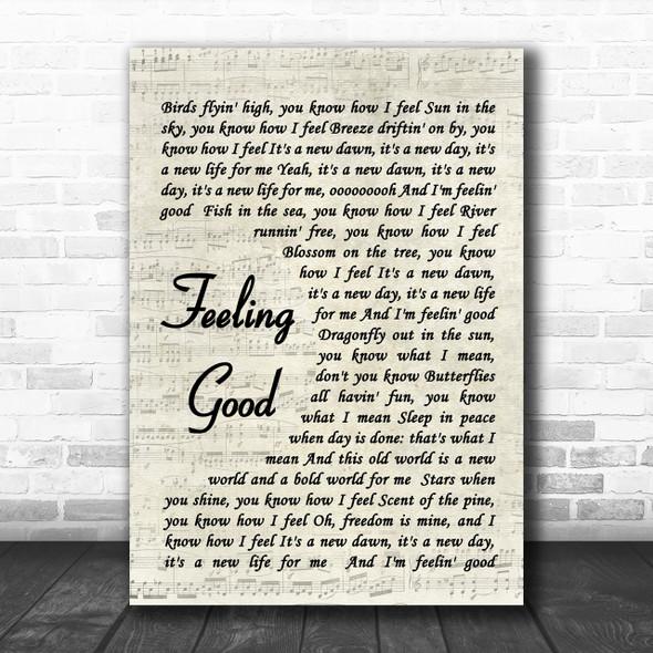 Feeling Good Nina Simone Song Lyric Vintage Script Music Wall Art Print