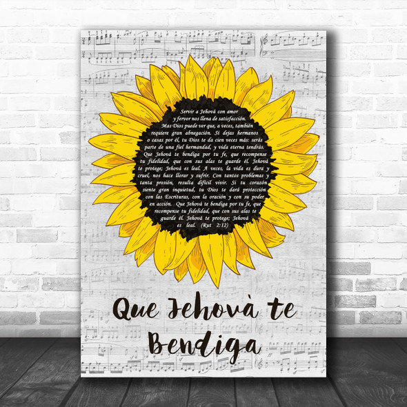 Our Side Que Jehová te Bendiga Grey Script Sunflower Decorative Gift Song Lyric Print