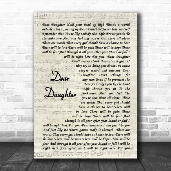 Halestorm Dear Daughter Song Lyric Vintage Script Music Wall Art Print