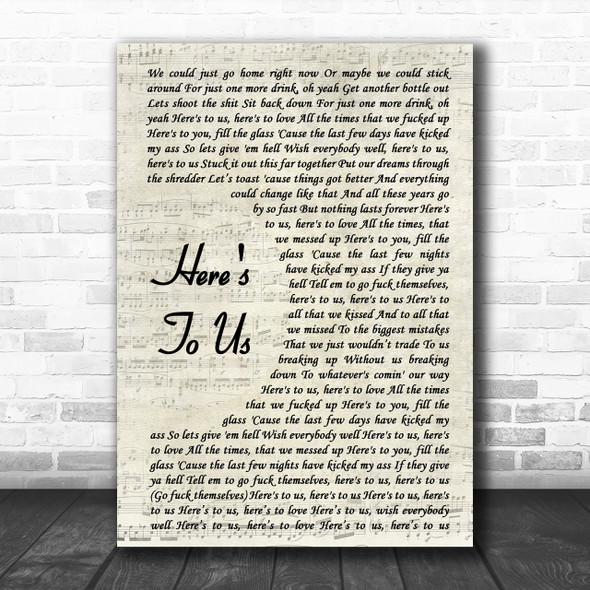 Halestorm Here's To Us Song Lyric Vintage Script Music Wall Art Print