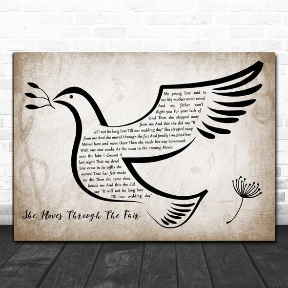 Paddy Tunney She Moves Through The Fair Vintage Dove Bird Decorative Gift Song Lyric Print