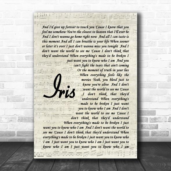 Iris Goo Goo Dolls Script Song Lyric Music Wall Art Print