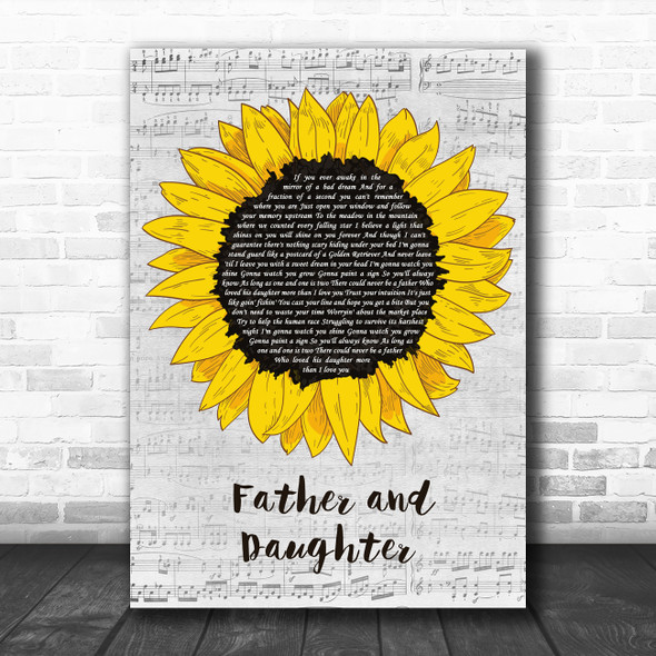 Paul Simon Father And Daughter Grey Script Sunflower Decorative Gift Song Lyric Print