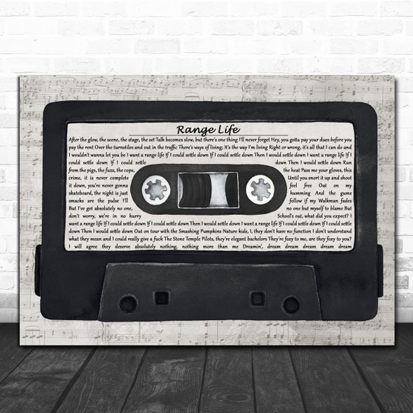 Pavement Range Life Music Script Cassette Tape Decorative Wall Art Gift Song Lyric Print