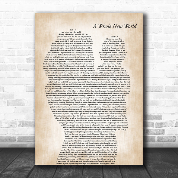 Peabo Bryson & Regina Belle A Whole New World Mother & Baby Wall Art Song Lyric Print