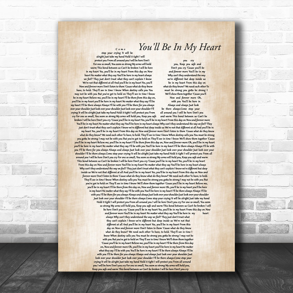Phil Collins You'll Be In My Heart Mother & Baby Decorative Wall Art Gift Song Lyric Print