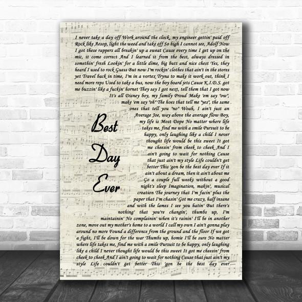 Mac Miller Best Day Ever Vintage Script Song Lyric Music Wall Art Print