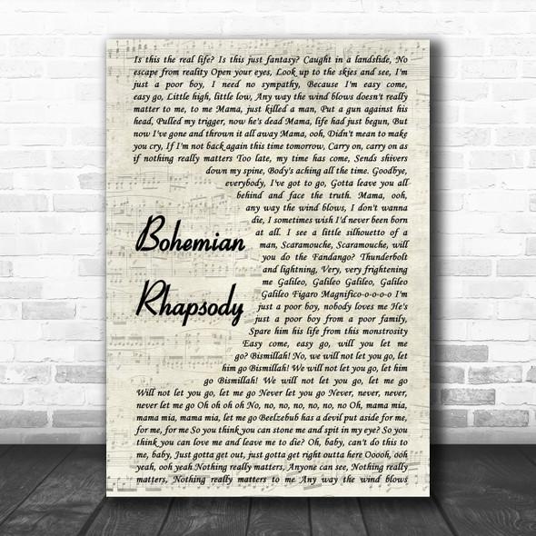 Queen Bohemian Rhapsody Vintage Script Song Lyric Music Wall Art Print