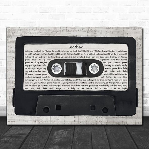 Pink Floyd Mother Music Script Cassette Tape Decorative Wall Art Gift Song Lyric Print